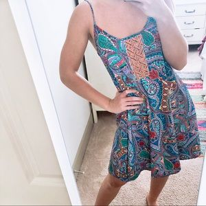 Buttons Paisley Patterned Swing Dress